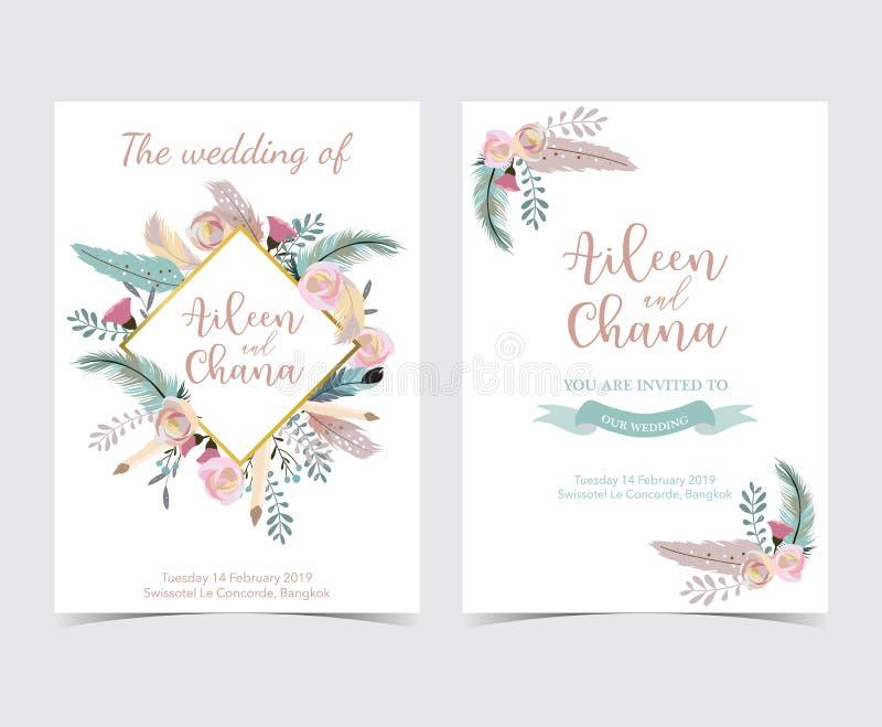 几何金子婚礼与花,叶子,丝带, wr的邀请卡片 皇族释放例证