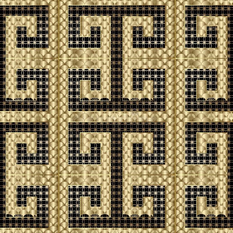 几何金子织地不很细3d希腊传染媒介无缝的样式 装饰高雅鞋带背景 重复装饰现代栅格 向量例证