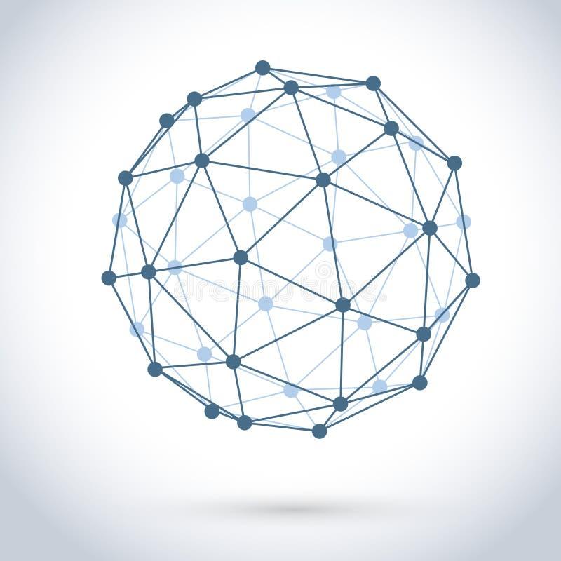 几何铁丝网球形 库存例证