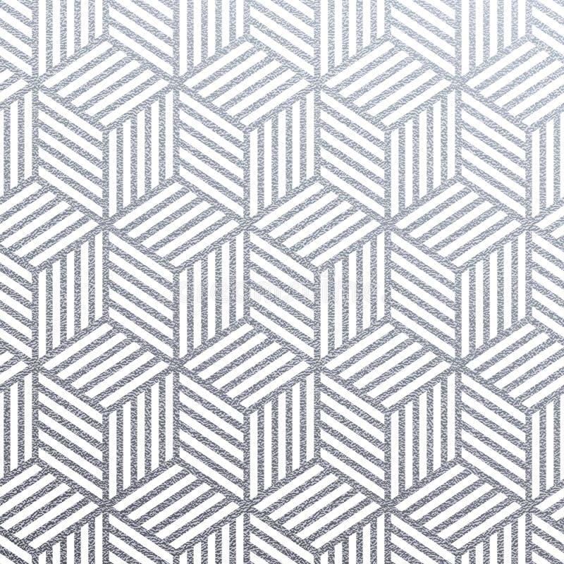 几何银3D求与抽象被编织的线闪烁纹理的无缝的样式的立方在白色背景的 传染媒介银闪烁 皇族释放例证