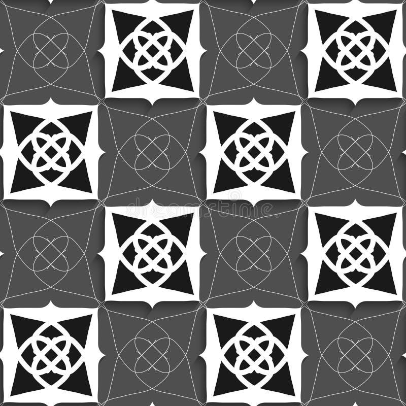 几何阿拉伯装饰品黑白与亭亭玉立的导线 皇族释放例证