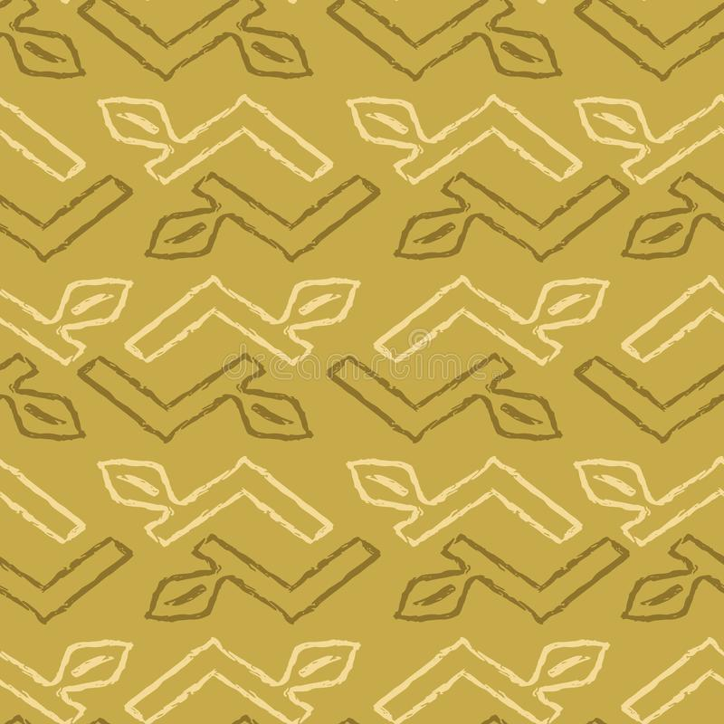 几何雪佛叶子镶边无缝的传染媒介样式,手拉的难看的东西词根例证 库存例证