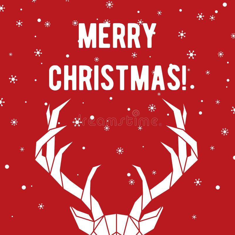 几何鹿垫铁 圣诞快乐与鹿和雪花的贺卡 皇族释放例证
