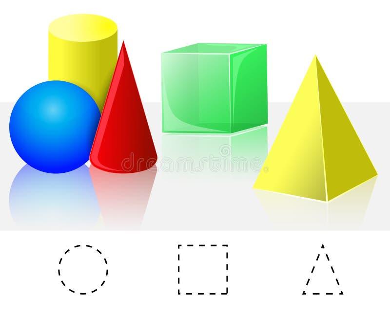 几何 立方体,金字塔,锥体,圆筒,球形 皇族释放例证