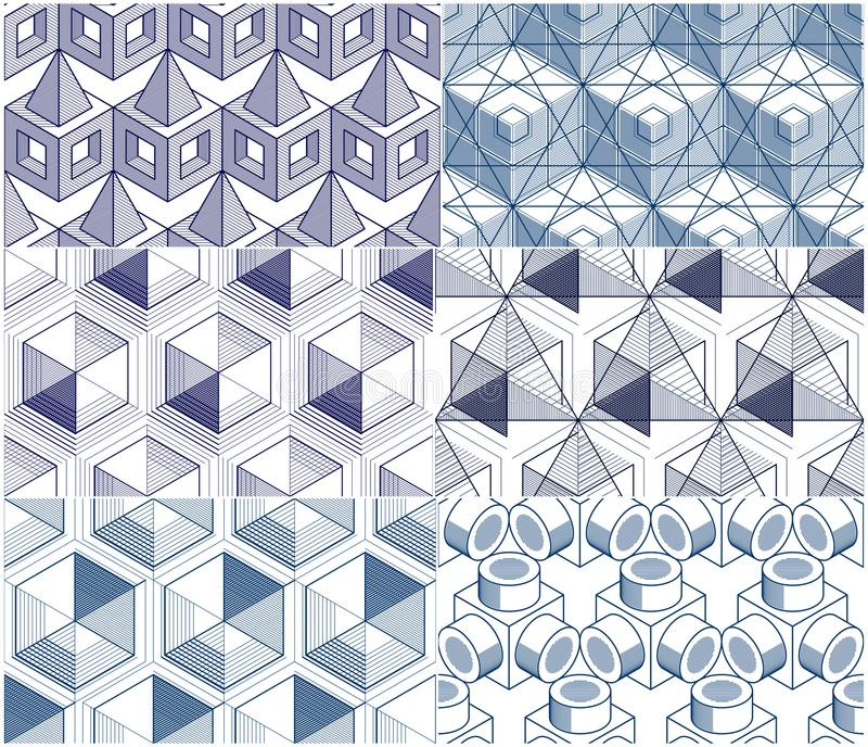 几何3d线摘要无缝的样式设置了, backgr 皇族释放例证