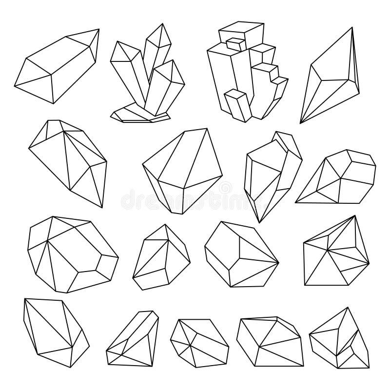 几何3d水晶线形传染媒介集合 皇族释放例证
