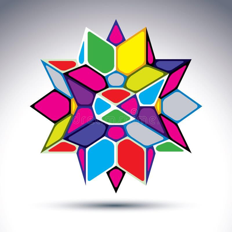 从几何e修建的富有的3d抽象荧光的图 库存例证