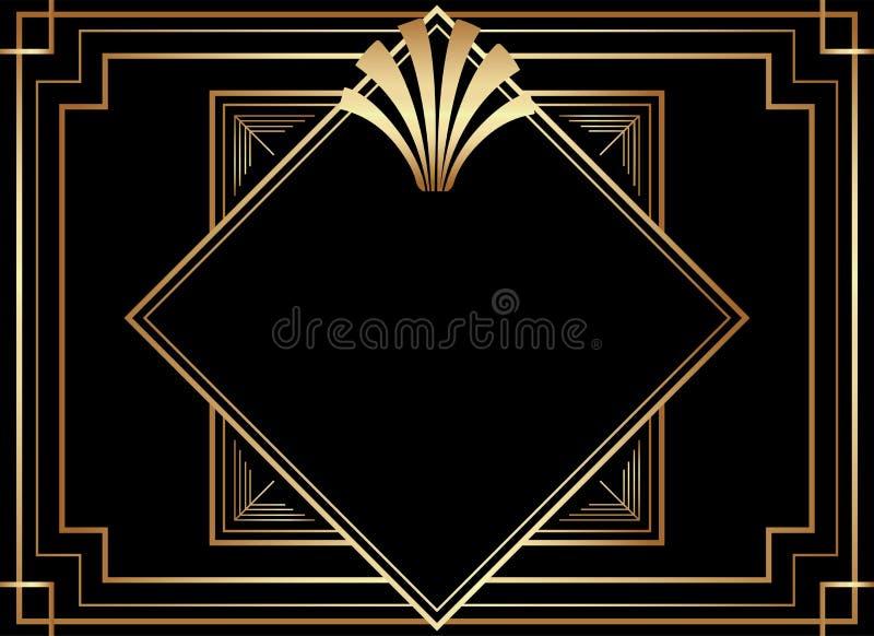 几何Gatsby艺术装饰样式框架设计 库存例证