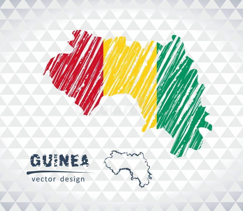 几内亚与在白色背景隔绝的旗子里面的传染媒介地图 剪影白垩手拉的例证 向量例证