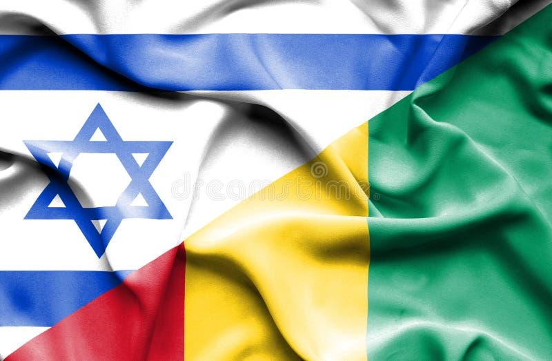 几内亚和以色列的挥动的旗子 库存例证