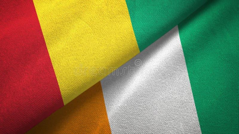 几内亚和科特迪瓦象牙海岸两旗子织物纹理 向量例证