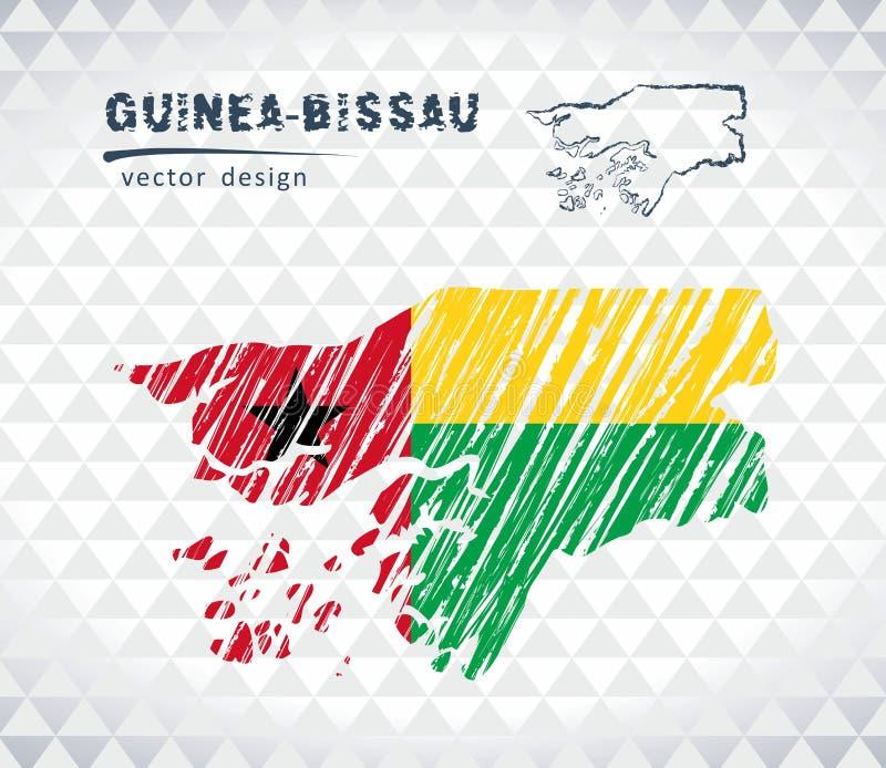 几内亚比绍与在白色背景隔绝的旗子里面的传染媒介地图 剪影白垩手拉的例证 向量例证