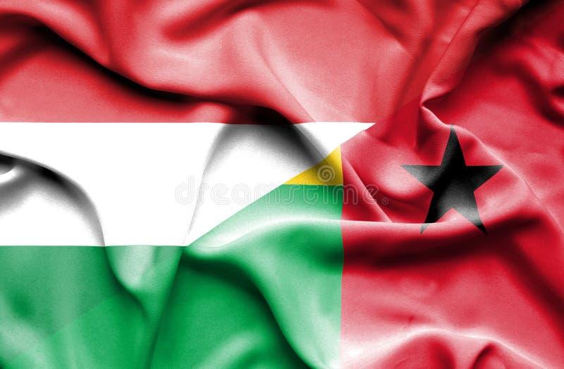 几内亚比绍和匈牙利的挥动的旗子 库存例证