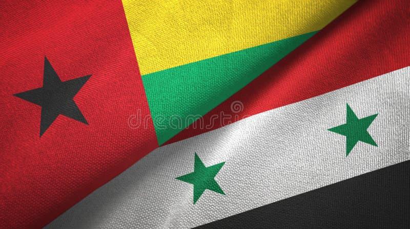 几内亚比绍和叙利亚两旗子纺织品布料,织品纹理 向量例证