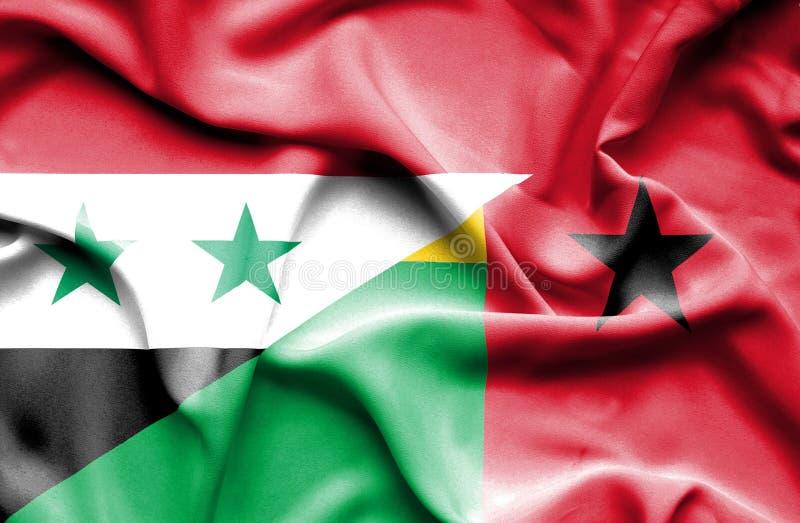 几内亚比绍和叙利亚的挥动的旗子 库存例证