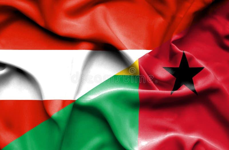 几内亚比绍和奥地利的挥动的旗子 向量例证