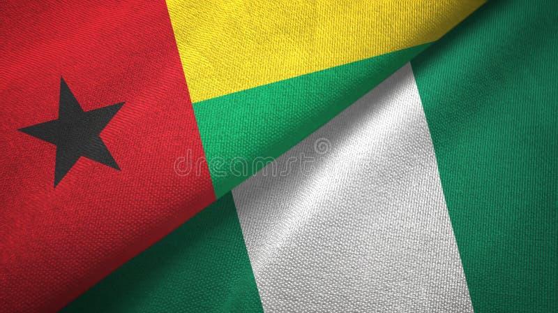 几内亚比绍和尼日利亚两旗子纺织品布料,织品纹理 库存例证