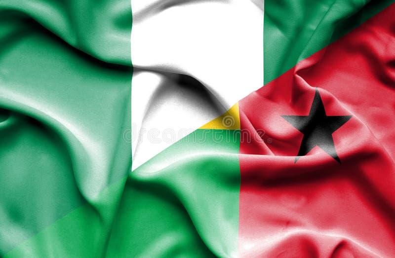 几内亚比绍和尼日利亚的挥动的旗子 向量例证