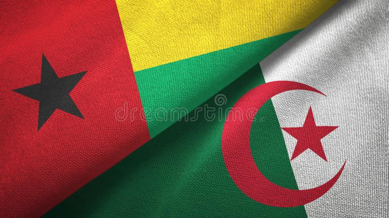 几内亚比绍和阿尔及利亚两旗子纺织品布料,织品纹理 库存例证