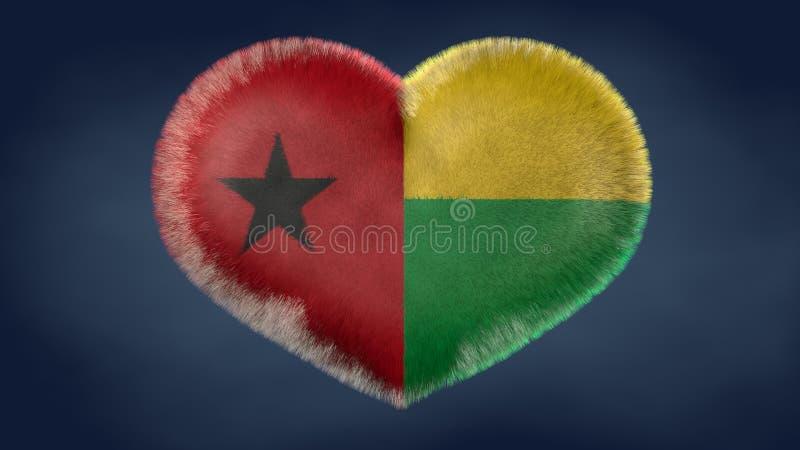几内亚比绍旗子的心脏 皇族释放例证