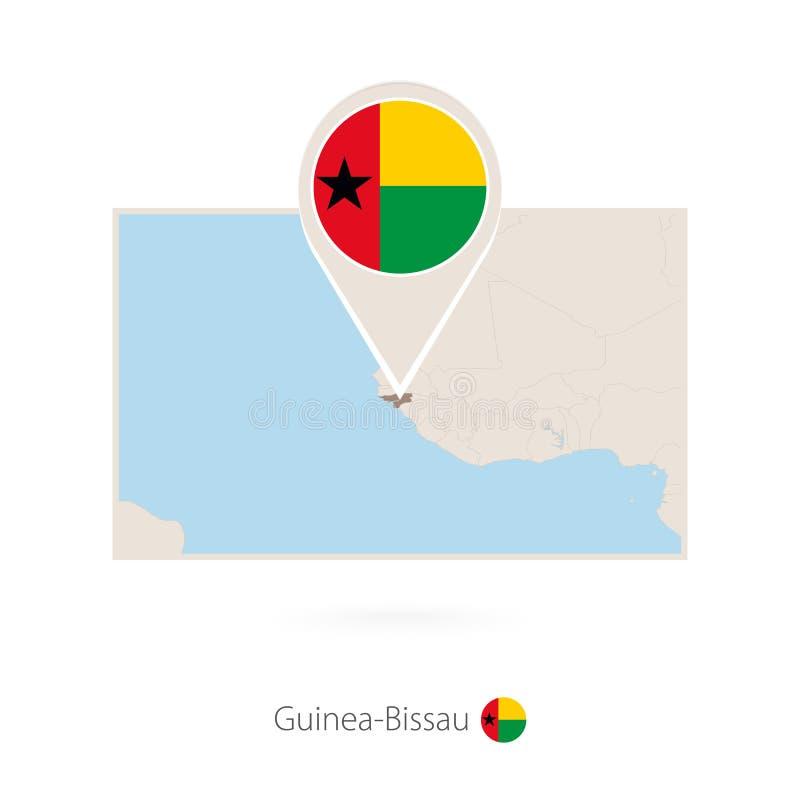 几内亚比绍的长方形地图有几内亚比绍的别针象的 向量例证