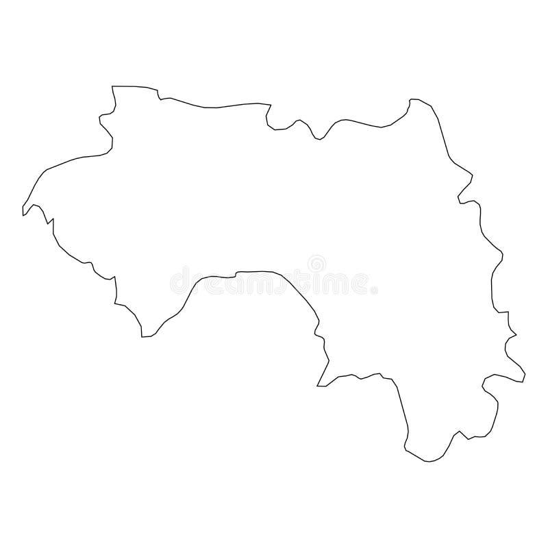 几内亚-国家区域坚实黑概述边界地图  简单的平的传染媒介例证 皇族释放例证