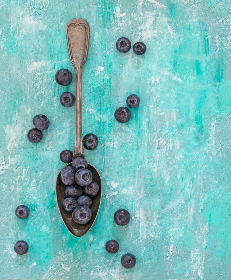 几勺蓝莓 库存照片