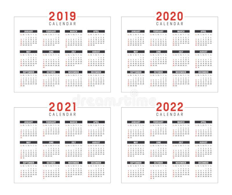 几年2019 2020 2021 2022本日历 皇族释放例证