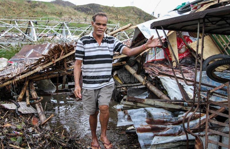 几数千在台风海盐后留下无家可归者 免版税库存图片