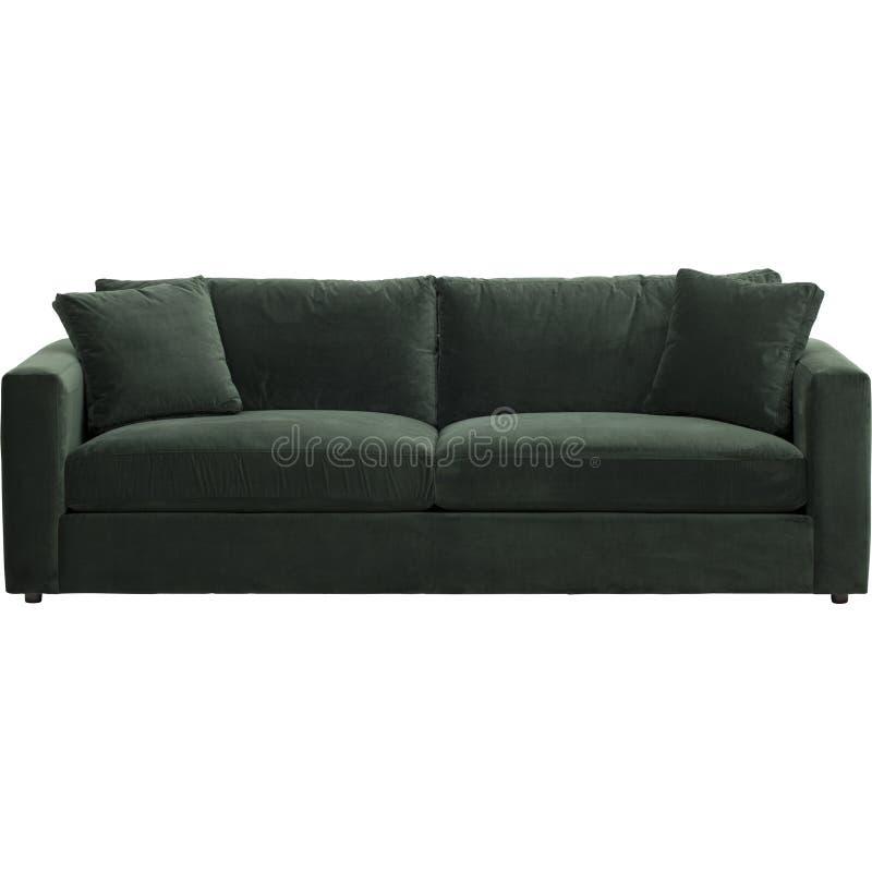 凤仙花绿色天鹅绒沙发,Warmingecom沙发套伸缩自在的纯净的颜色沙发坐垫用白色背景盖深绿,绿色 库存图片