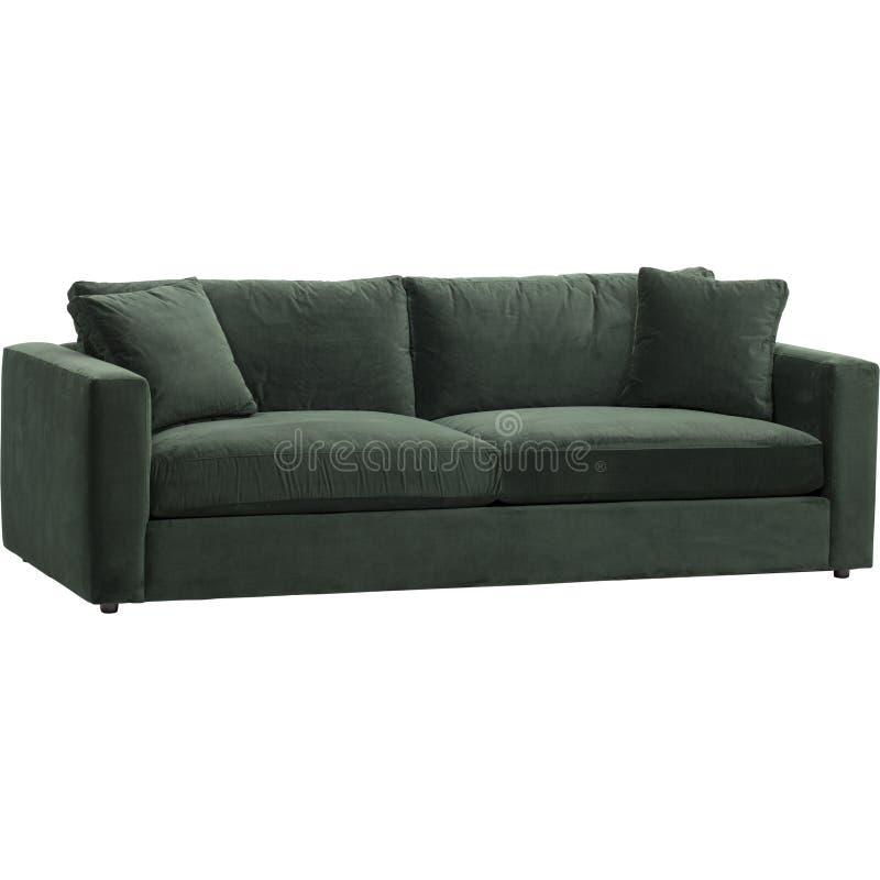 凤仙花绿色天鹅绒沙发,Warmingecom沙发套伸缩自在的纯净的颜色沙发坐垫用白色背景盖深绿,绿色 免版税库存图片