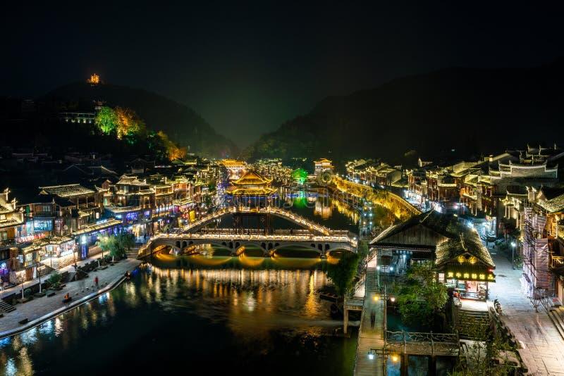 凤凰县美丽的中国的古镇 库存图片