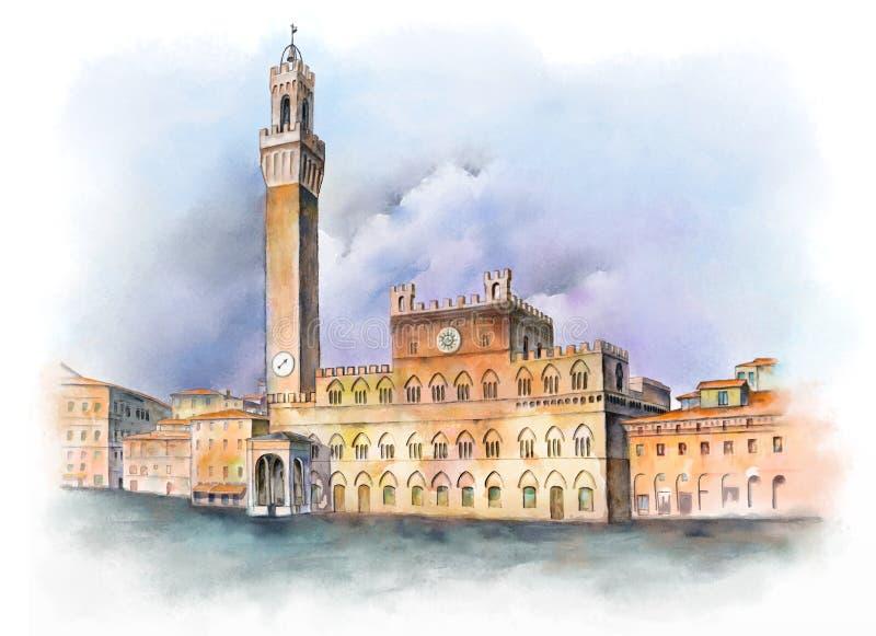 凯姆帕del意大利广场siena 免版税库存图片