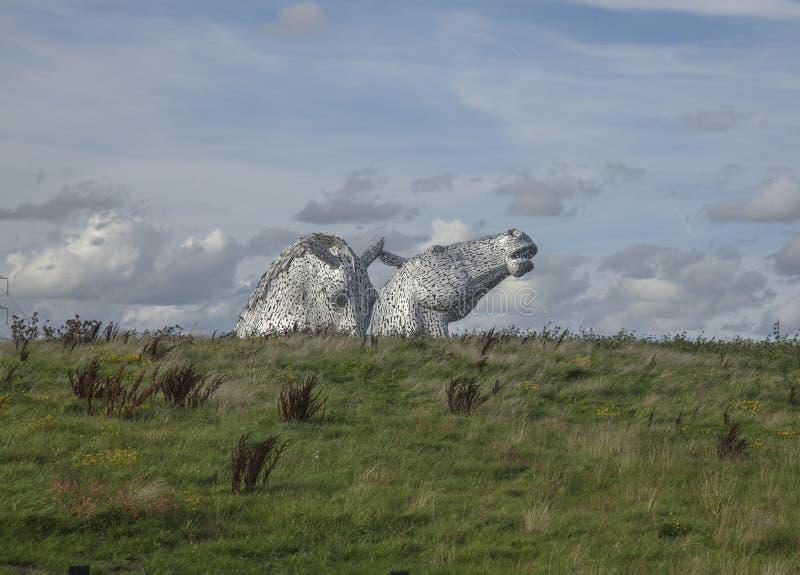 凯尔派,马领袖雕塑,苏格兰,英国 免版税库存照片