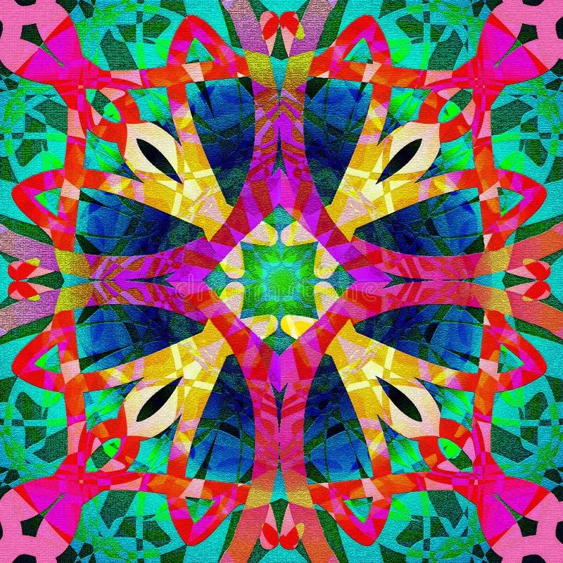 凯尔特坛场,抽象形状,纹理,蓝色圈子,紫色十字架,绳索在黄色,红色,紫红色,绿色中心, 向量例证