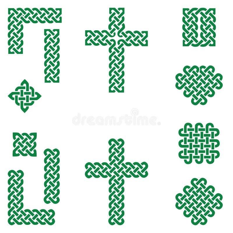 凯尔特样式不尽的结标志包括边界,线,心脏,十字架,在爱尔兰旗子的弯曲的正方形在白色背景绿化 库存例证