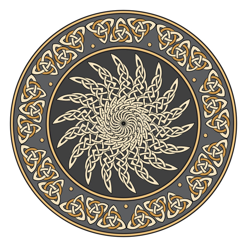 凯尔特盾,装饰用一个古老欧洲太阳样式 皇族释放例证