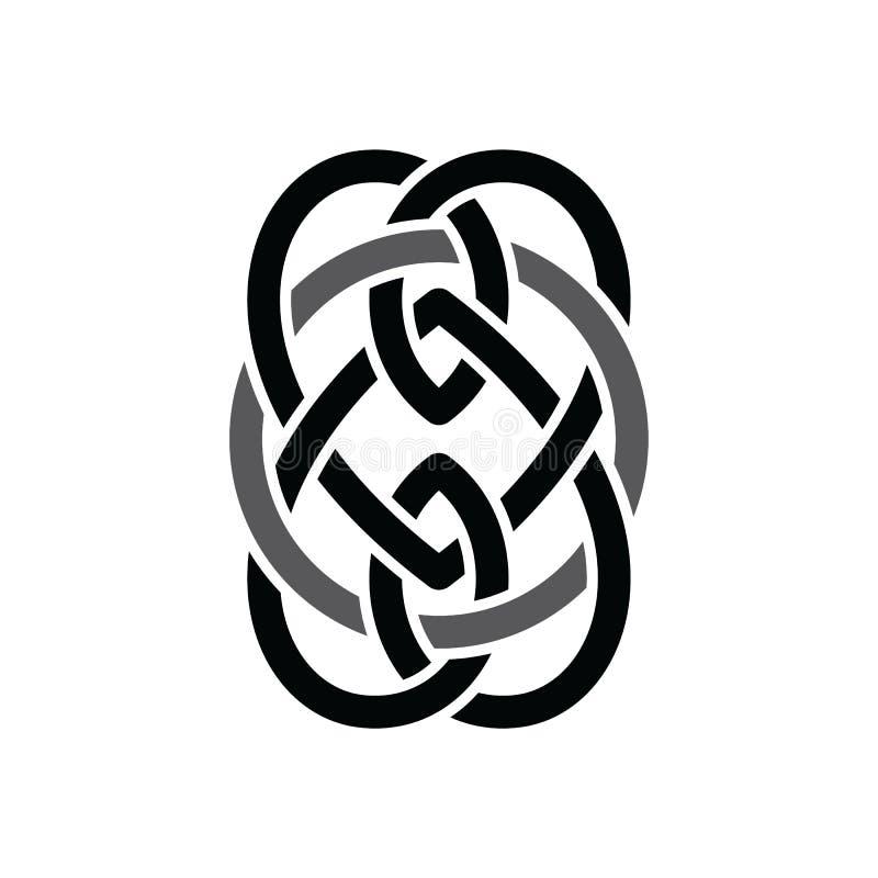 凯尔特语重叠了黑抽象花卉概念商标 向量例证