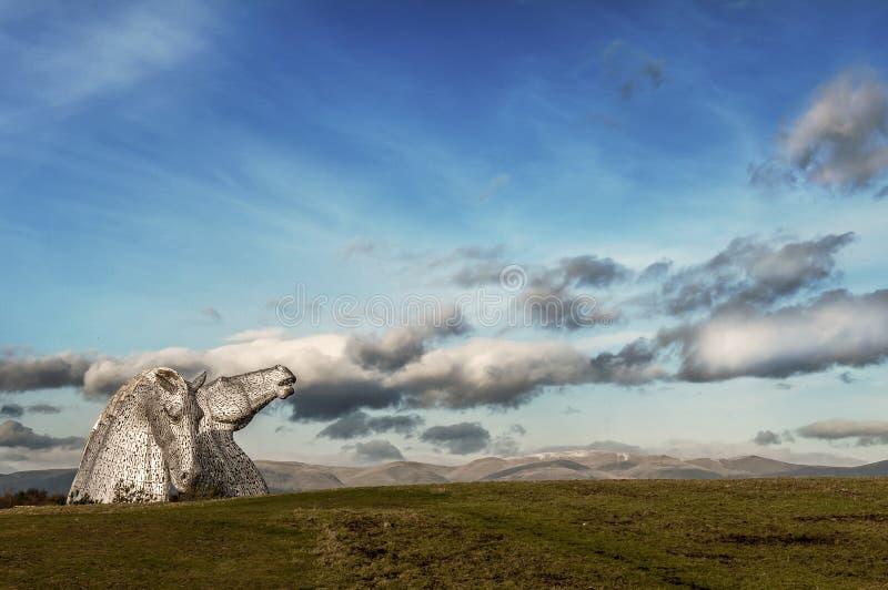 凯尔派-巨型马雕塑-苏格兰风景 免版税库存照片