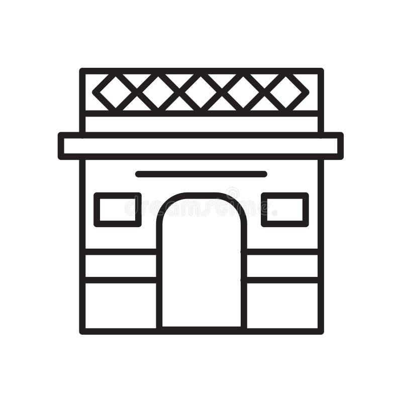 凯旋门在白色背景隔绝的象传染媒介,凯旋门标志,稀薄的线在概述样式的设计元素 库存例证