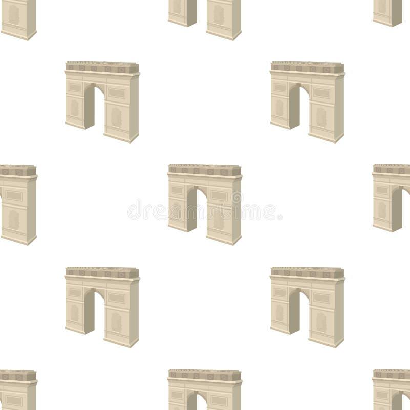 凯旋门在巴黎 成拱形在动画片样式传染媒介标志股票例证网的修造的唯一象 向量例证