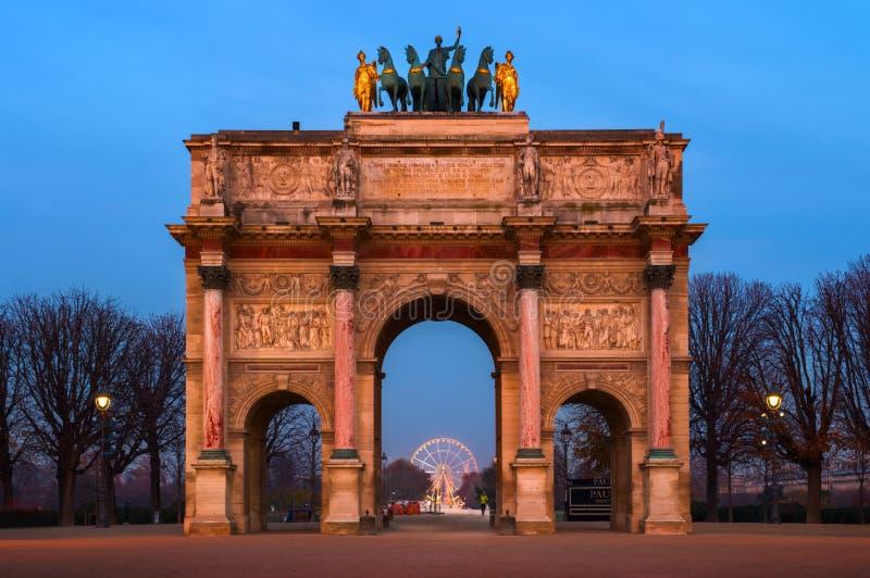 凯旋门du Carrousel在巴黎,法国 库存照片