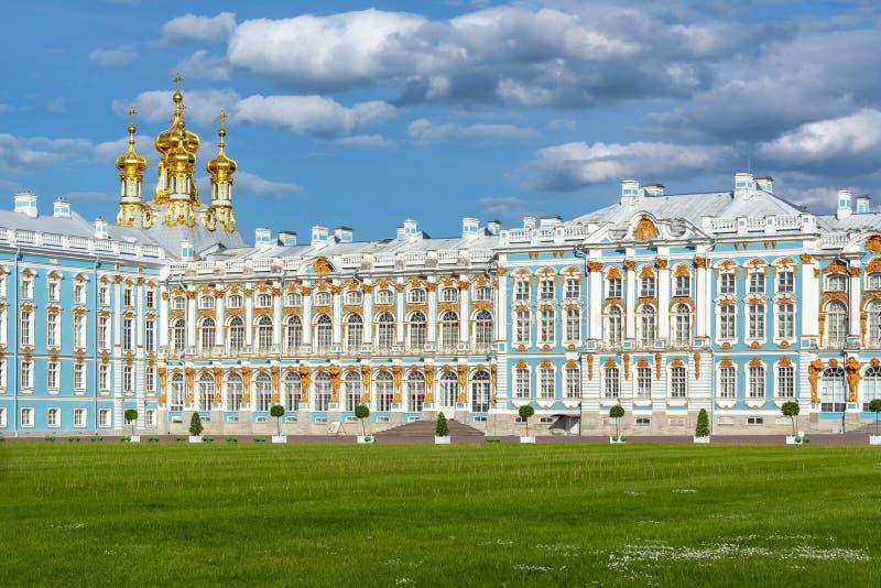 凯瑟琳宫殿在Tsarskoe Selo,普希金,圣彼德堡,俄罗斯 免版税库存图片