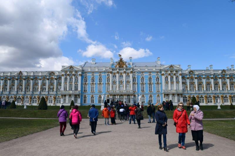 凯瑟琳宫殿是位于Tsarskoye Selo普希金镇的一个洛可可式的宫殿  免版税图库摄影