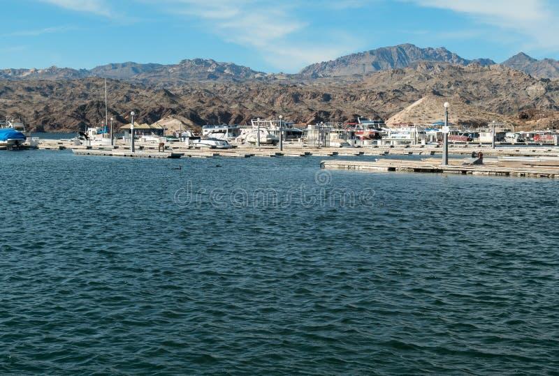 凯瑟琳着陆小游艇船坞,湖莫哈维族 免版税库存图片