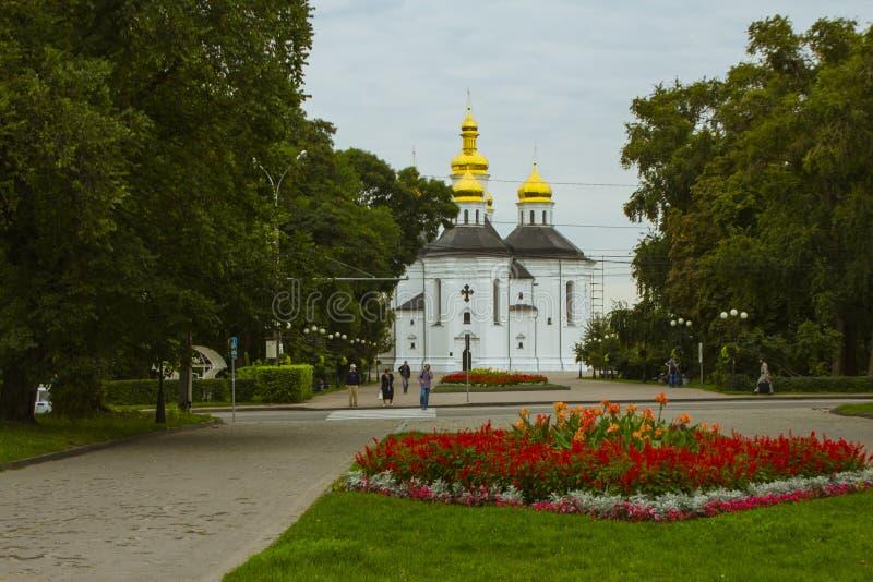 凯瑟琳` s教会是东正教在切尔尼戈夫,乌克兰 免版税库存图片