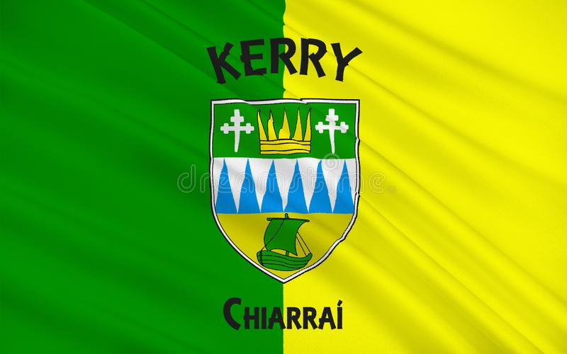 凯里郡旗子是一个县在爱尔兰 库存例证