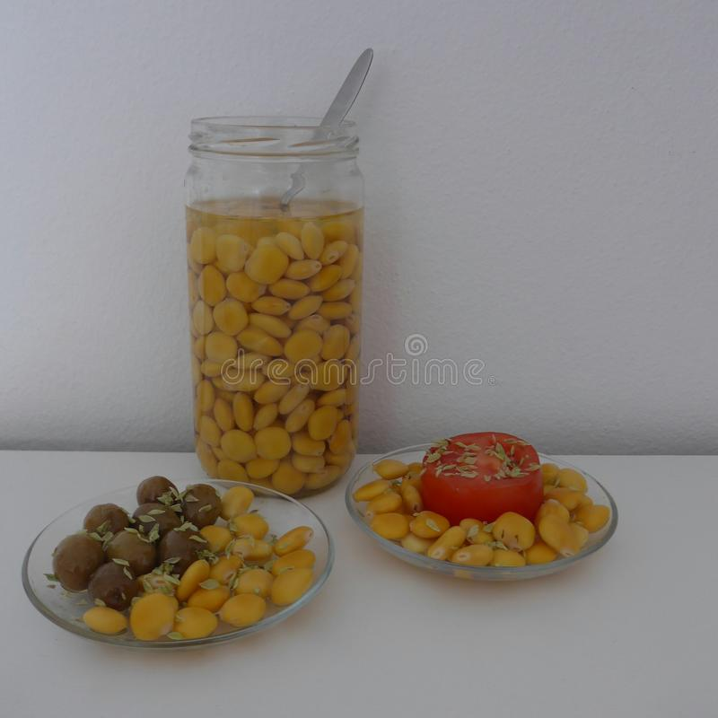 凶猛豆,羽扇豆属albus Tremocos, 免版税库存照片