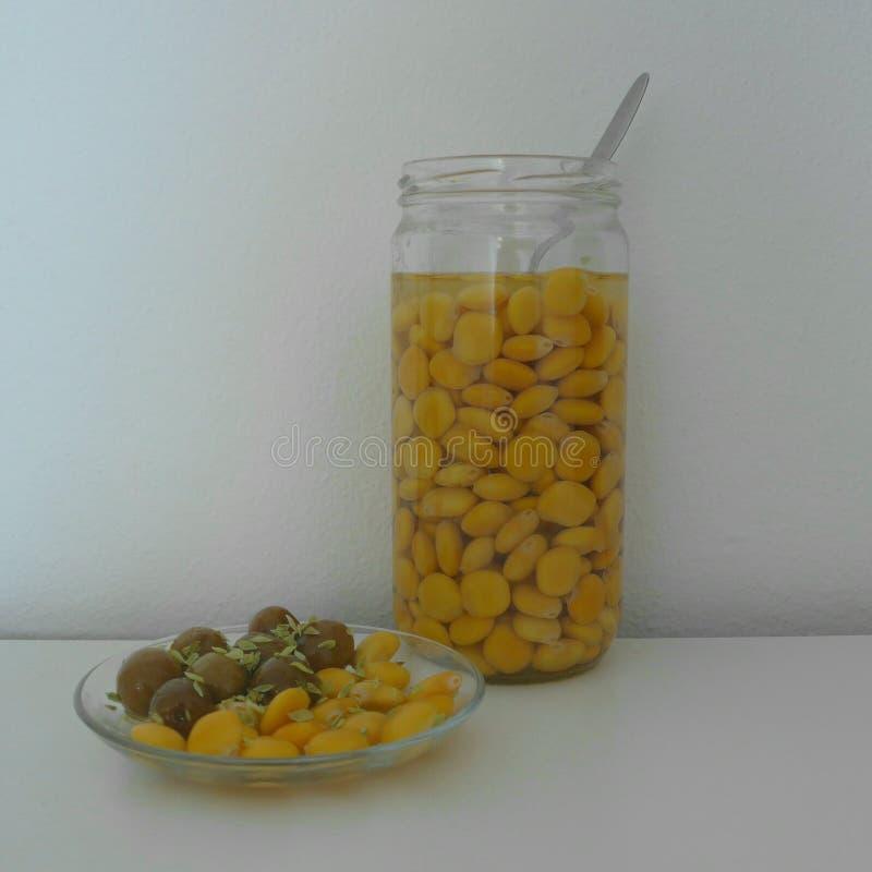 凶猛豆,羽扇豆属albus Tremocos, 库存图片