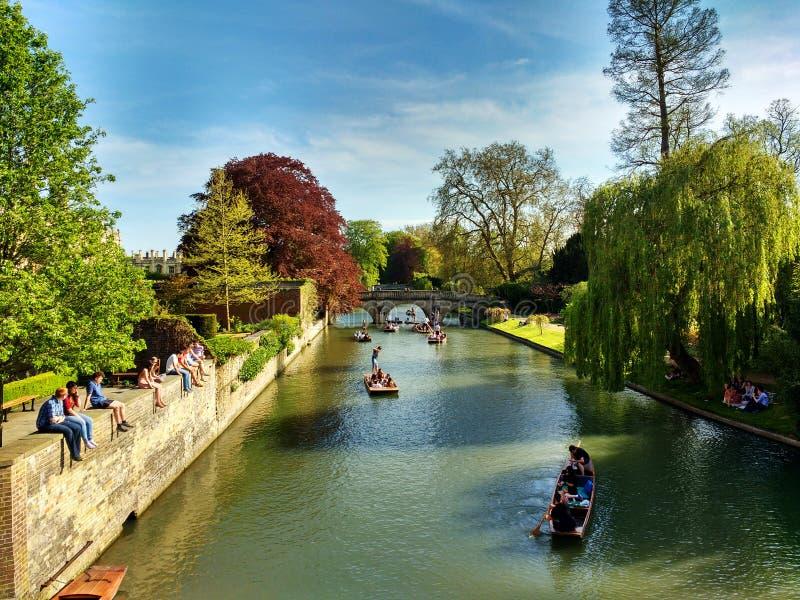 凸轮河在剑桥,英国 库存照片